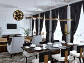 Вид на гостиную и обеденную зону